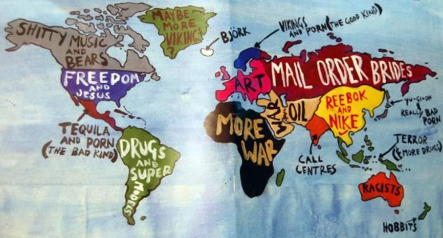 funny world map as America sees it